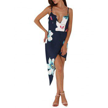 Old Classical Style Spaghetti Strap Floral Asymmetrical Women Party Dress
