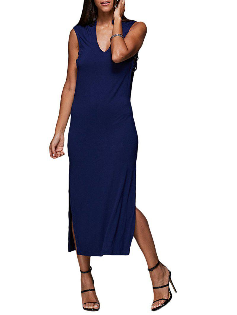 Sexy V-Neck Hollow Out Solid Color Women Midi Split Dress - BLUE M