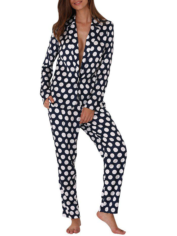 Turn Down Collar Allover Polka Dot Print Soft Women Pajama - BLUE M