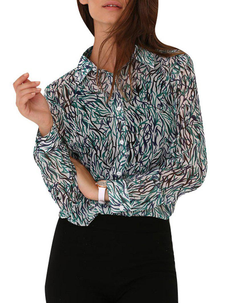 Chic Turn Down Collar Allover Print Women Blouse