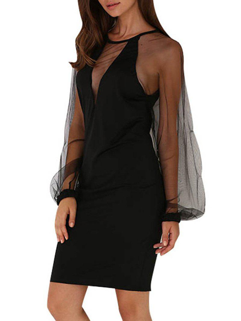 Elegant Round Collar Lantern Sleeve Spliced See-Through Women Black Dress - BLACK M