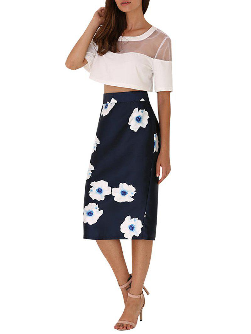 Old Classical Style High Waist Floral Women Bodycon Skirt - BLACK M