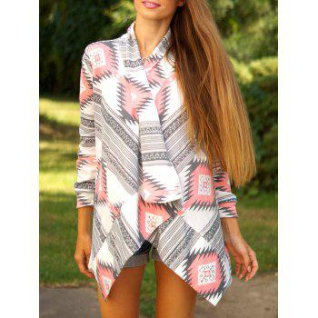 Buy Stylish Collarless Long Sleeve Tribal Print Asymmetrical Ladies Cardigan RED