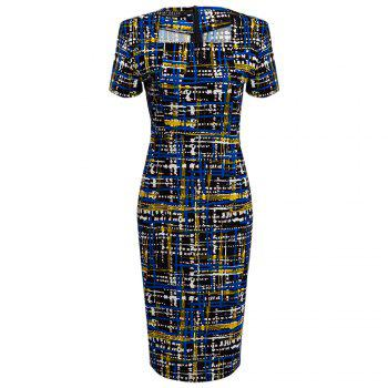 Elegant Square Neck Printed Slim Pencil Women Dress