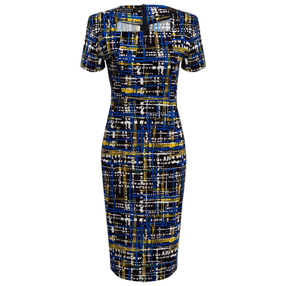 Elegant Square Neck Printed Slim Pencil Women Dress - BLACK S