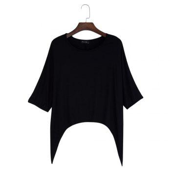 Brief Round Collar Batwing Sleeve Solid Color Loose Women T-Shirt