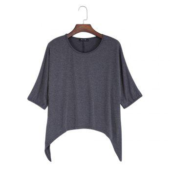Brief Round Collar Batwing Sleeve Solid Color Loose Women T-Shirt - GRAY M