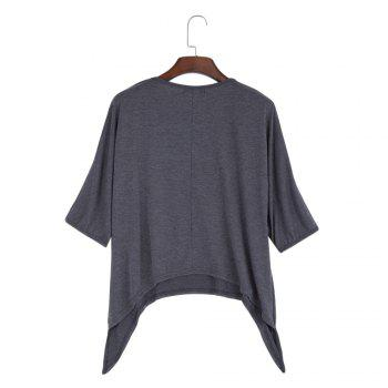 Brief Round Collar Batwing Sleeve Solid Color Loose Women T-Shirt - GRAY L