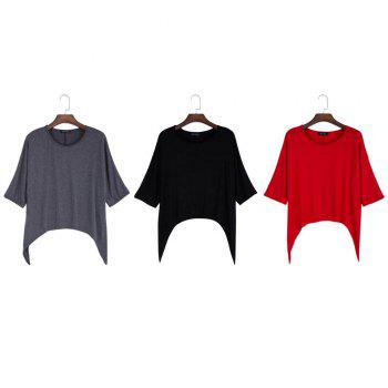 Brief Round Collar Batwing Sleeve Solid Color Loose Women T-Shirt - GRAY XL