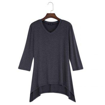 Simple Style V-Neck Solid Color Asymmetrical Women T-Shirt