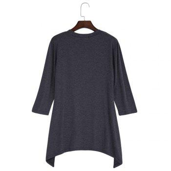 Simple Style V-Neck Solid Color Asymmetrical Women T-Shirt - GRAY GRAY