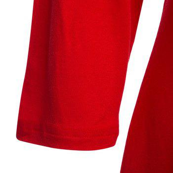 Simple Style V-Neck Solid Color Asymmetrical Women T-Shirt - RED M