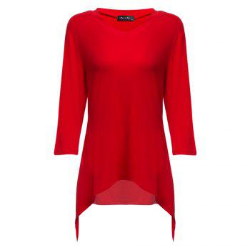 Simple Style V-Neck Solid Color Asymmetrical Women T-Shirt - RED RED