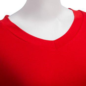 Simple Style V-Neck Solid Color Asymmetrical Women T-Shirt - XL XL