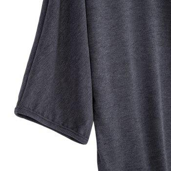 Brief Round Collar Batwing Sleeve Solid Color Loose Women T-Shirt - GRAY GRAY