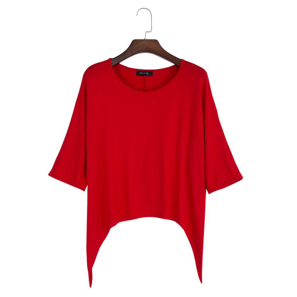 Brief Round Collar Batwing Sleeve Solid Color Loose Women T-Shirt - RED L