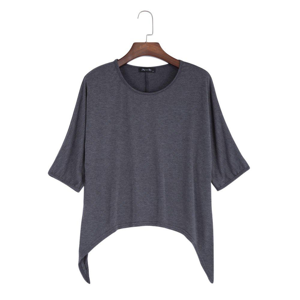 Brief Round Collar Batwing Sleeve Solid Color Loose Women T-Shirt - GRAY 2XL