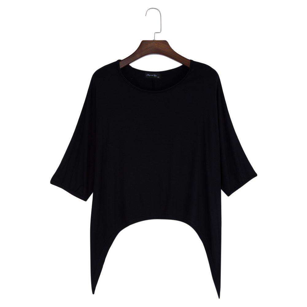 Brief Round Collar Batwing Sleeve Solid Color Loose Women T-Shirt - BLACK M