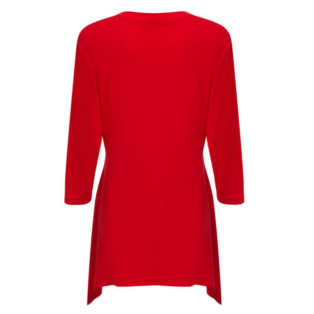 Simple Style V-Neck Solid Color Asymmetrical Women T-Shirt - RED L