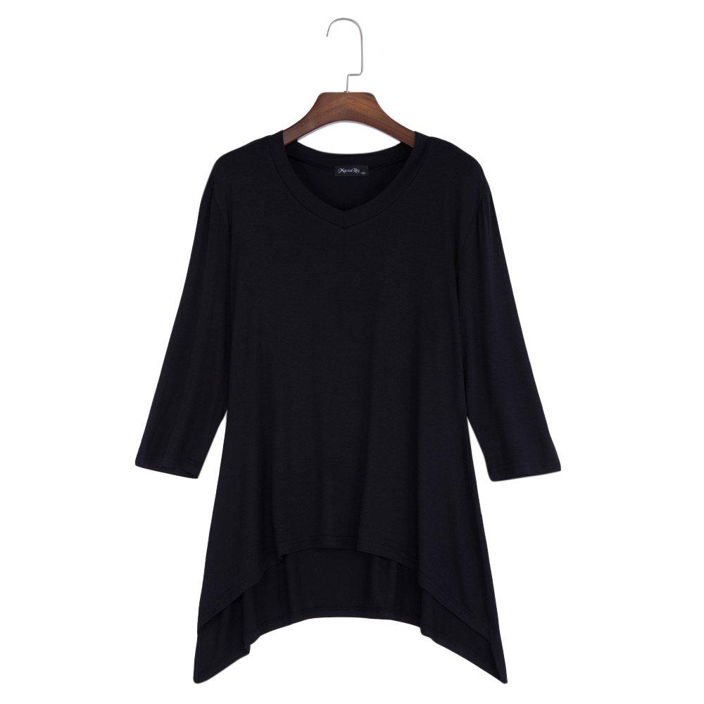 Simple Style V-Neck Solid Color Asymmetrical Women T-Shirt - BLACK XL