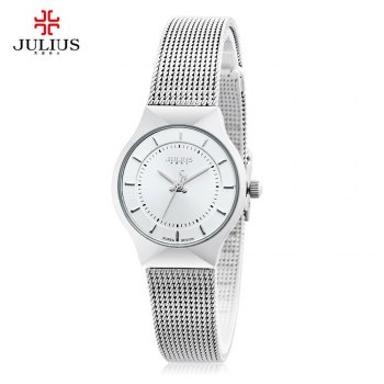 Julius JA - 577 Female Quartz Wrist Watch Ultrathin Stainless Steel Mesh Band