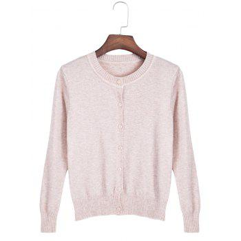 Brief Round Collar Long Sleeve Button Slim Women Knit Cardigan