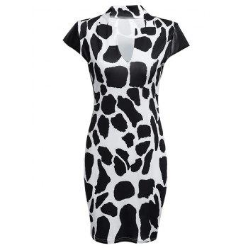 Sexy V-Neck Cap Sleeve Print Sheathy Women Dress