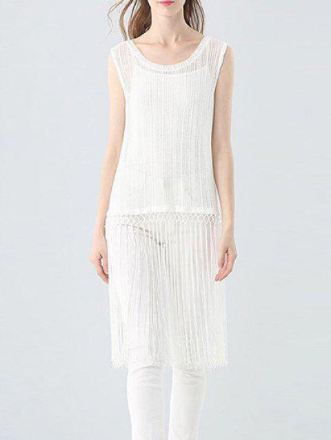 Trendy Round Collar Sleeveless See-through Slim Tassel Hollow Out Women T-shirt - WHITE ONE SIZE(FIT SIZE XS TO M)