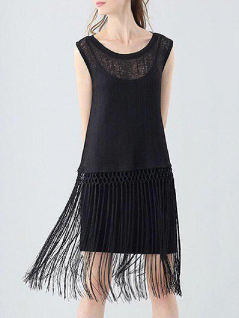 Trendy Round Collar Sleeveless See-through Slim Tassel Hollow Out Women T-shirt - BLACK ONE SIZE(FIT SIZE XS TO M)