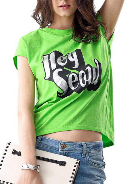 Casual Round Collar Sleeveless Letter Print Loose Women T-shirt - LIGHT GREEN ONE SIZE(FIT SIZE XS TO M)