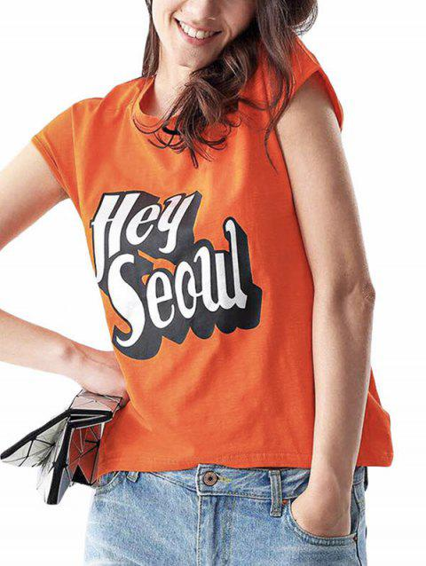Casual Round Collar Sleeveless Letter Print Loose Women T-shirt - DARKSALMON ONE SIZE(FIT SIZE XS TO M)
