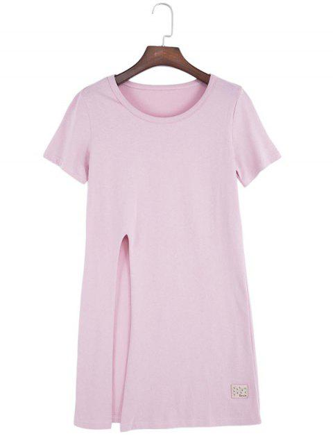 Casual Round Collar Front Slit Loose Women Long T-shirt - PINK ONE SIZE(FIT SIZE XS TO M)