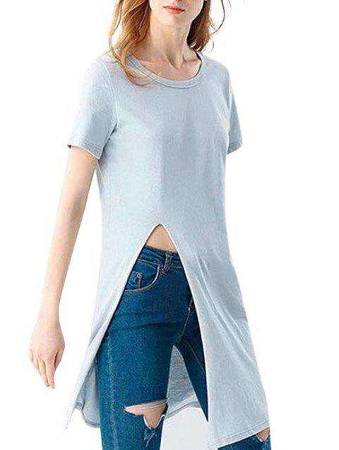 Casual Round Collar Front Slit Loose Women Long T-shirt - LIGHT BLUE ONE SIZE(FIT SIZE XS TO M)