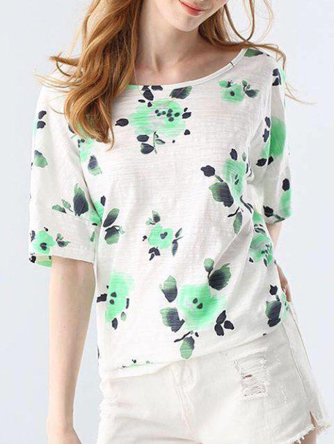 Trendy Round Collar Short Sleeve Bandage Floral Print Loose Women T-shirt - GREEN ONE SIZE(FIT SIZE XS TO M)