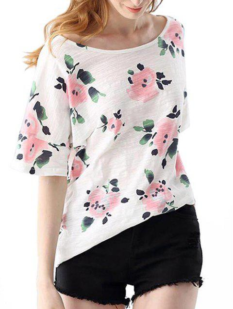 Trendy Round Collar Short Sleeve Bandage Floral Print Loose Women T-shirt - LIGHT PINK ONE SIZE(FIT SIZE XS TO M)