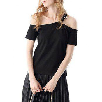 Casual Off The Shoulder Short Sleeve Hollow Out Slim Women T-shirt