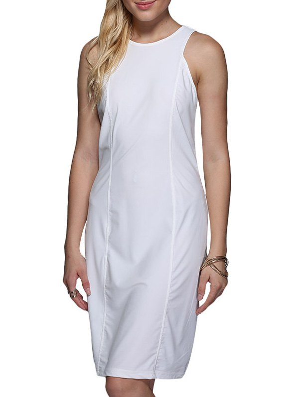 Brief Round Collar Pure Color Women Sundress - WHITE M