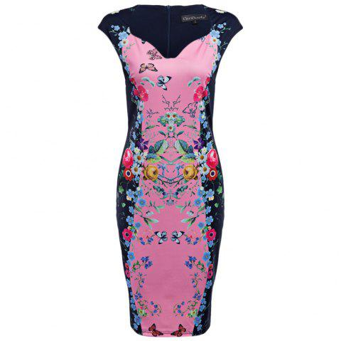 CAIDIENU Trendy Sweetheart Neck Allover Floral Print Women Bodycon Dress - LIGHT PINK L