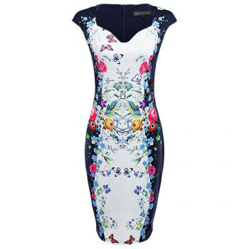 CAIDIENU Trendy Sweetheart Neck Allover Floral Print Women Bodycon Dress