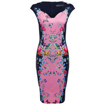 CAIDIENU Trendy Sweetheart Neck Allover Floral Print Women Bodycon Dress - LIGHT PINK LIGHT PINK