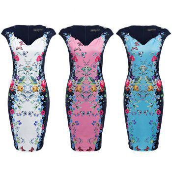 CAIDIENU Trendy Sweetheart Neck Allover Floral Print Women Bodycon Dress - S S