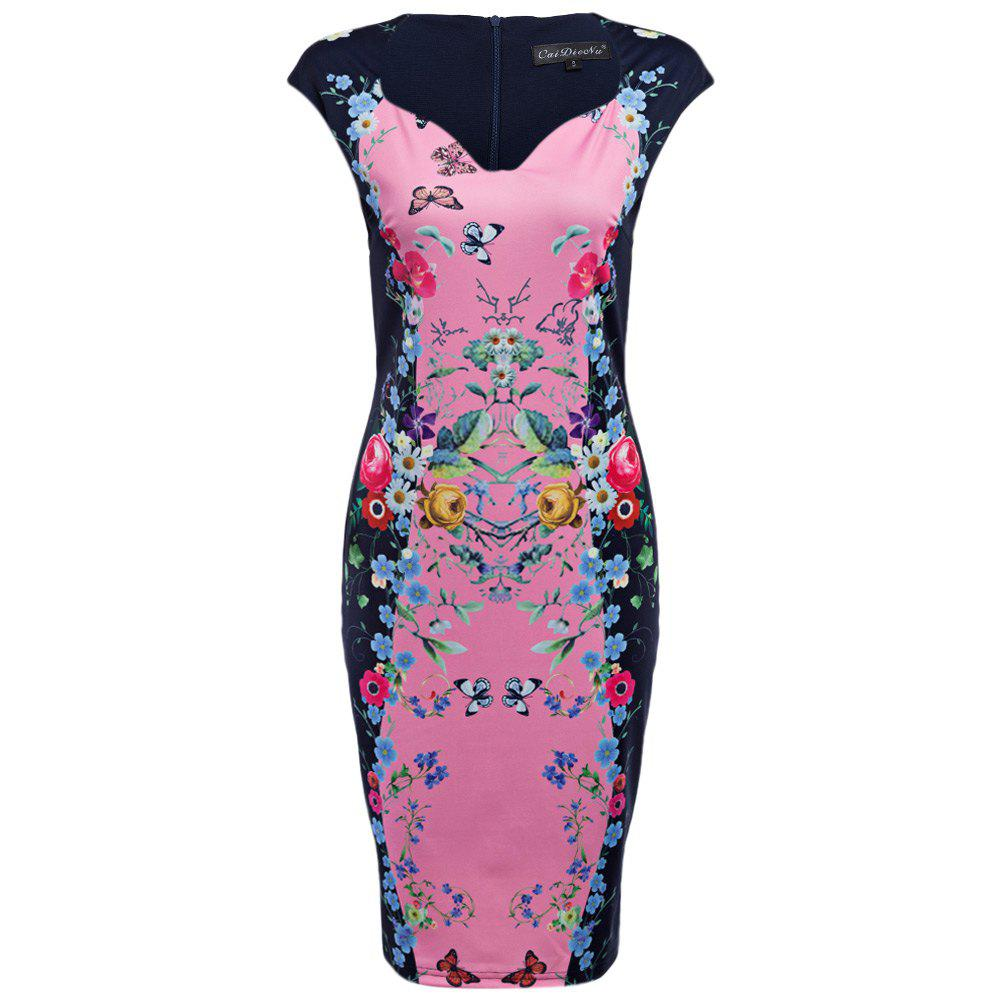 CAIDIENU Trendy Sweetheart Neck Allover Floral Print Women Bodycon Dress - LIGHT PINK S