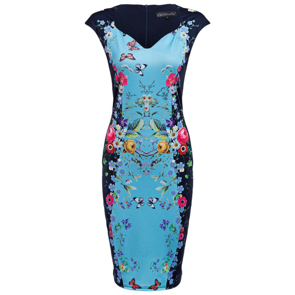 CAIDIENU Trendy Sweetheart Neck Allover Floral Print Women Bodycon Dress - ICE BLUE M