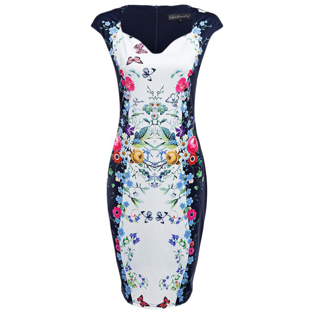 CAIDIENU Trendy Sweetheart Neck Allover Floral Print Women Bodycon Dress - WHITE S