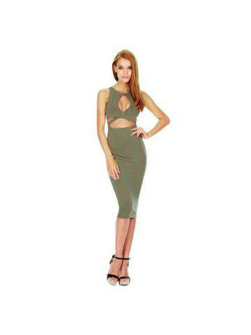 1af182de7ee12 Sexy Jewel Neck Sleeveless Pure Color Hollow Out Bodycon Women Midi Dress