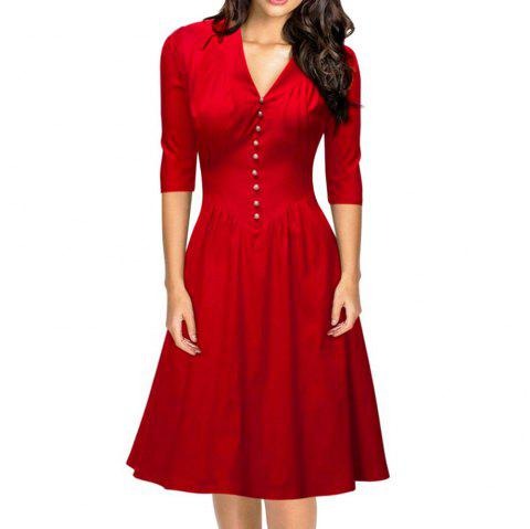 Elegant V-Neck Beaded Sash Waist A-Line Women Dress - RED S