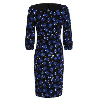 OL Style Round Collar Allover Print Sheath Women Dress - PURPLISH BLUE PURPLISH BLUE