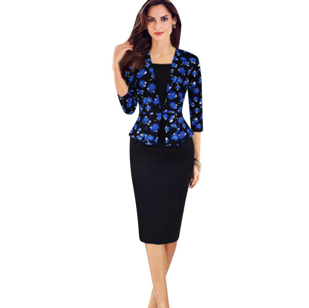 OL Style V-Neck Floral 3/4 Sleeve Bodycon Women Faux Two Piece Dress - PURPLISH BLUE S