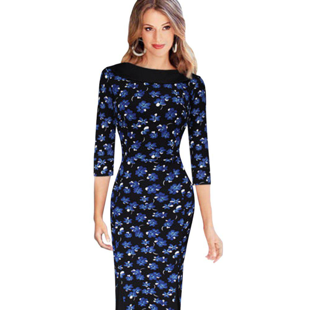 OL Style Round Collar Allover Print Sheath Women Dress - PURPLISH BLUE S