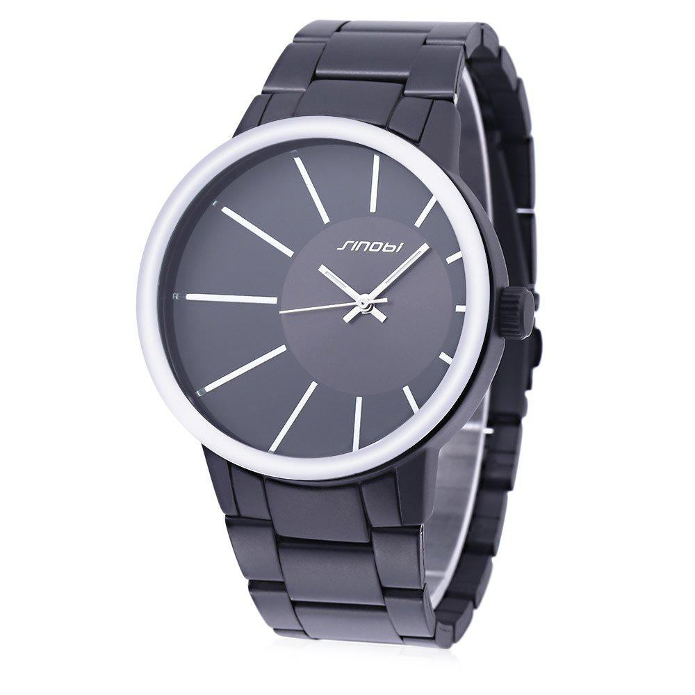 SINOBI 9338 Men Stainless Steel Band Quartz Analog Wrist Watch